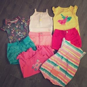 Carters/ Circo 9 Months Girl shorts and Bodysuits